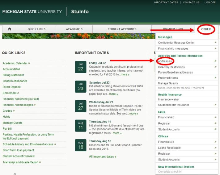 Msu Academic Calendar.Have You Updated Your Off Campus Address In Stuinfo Correctly